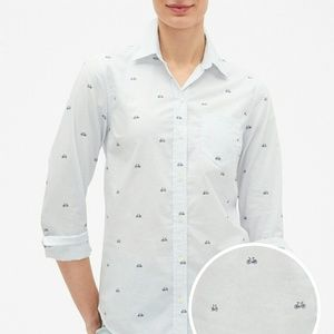 Bicycle print fitted boyfriend shirt